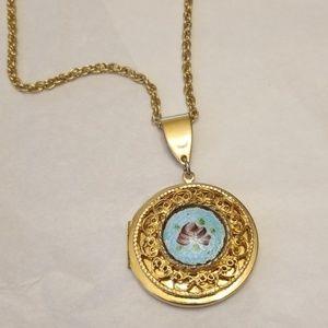 Vtg Guilloche Locket Necklace